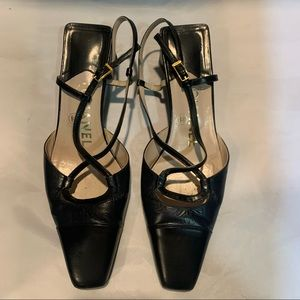 CHANEL Black Leather Square Toe Heels with Straps